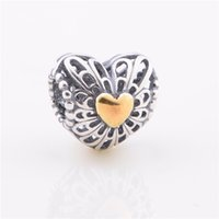 Wholesale Hot Sale Heart Lover Charm Sterling Silver European Charms Bead Fit Bracelets Snake Chain Fashion DIY Jewelry LW403