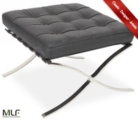 barcelona ottoman - MLF Barcelona Chair Ottoman Italian Leather High Density Foam Cushions Polished Stainless Steel Frame Riveted with Cowhide Saddle Straps