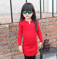 america sweaters fashion - 2015 Autumn Wear New Arrival Pure Color Joker Children Long Sweaters Fashion V Neck Pullover For Europe And America Girls K81
