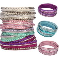 Wholesale Slake Deluxe Multilayer Crystal Bracelet Fashion Womens Mens Rhinestone Leather Wrap Bracelets Wristbands Jewelry High Quality