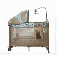 american baby crib - Multifunction American side zipper folding portable folding crib newborn baby shaker bed children s games