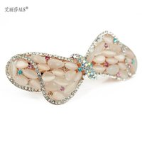 Wholesale Hot Sale Crystal Rhinestone Hair Accessories Bow Shall Automatically Clip The Top Folder N29279