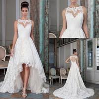 alexander training - 2016 Justin Alexander High Low Lace Wedding Dresses Bateau Neck Illusion Button Back Plus Size A line Bridal Gowns with Chapel Train BA0509