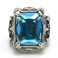 mens sapphire ring - New Arrival L Stainless Steel Top Quality Sapphire Fleur De Lis Ring Cool Band Party Mens Ring