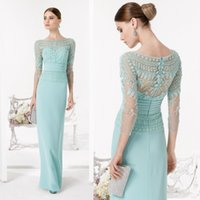 aire caps - 2016 Lace Sheath Mother Of The Bride Dresses Long Sleeves Wedding Mother Dress For Bridal Aire Barcelon Spring New Evening Prom Gown