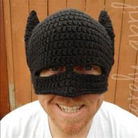 batman helmet - Personalized handmade wool hat helmet half face mask Batman Funny Halloween hat Knitted crochet wool hat with ear flap