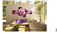 al por mayor pintura al óleo flor de la orquídea-Pintura abstracta moderna de acrílico Aceite de la orquídea flor roja en las pinturas al óleo moderna ajustar las imágenes de la decoración