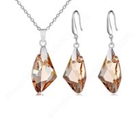 aqua shadow - quot Gold Shadow Austrian Crystal Sterling Silver Jewelry Pinch Bail Earring Pendant Necklace Set Women Gift