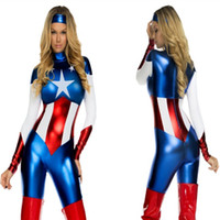 Wholesale Captain America Super Heroes Bodysuits Cosplay Halloween Adult Female The Avengers Zentai Teddies Jumpsuits Performance Clothes Costumes