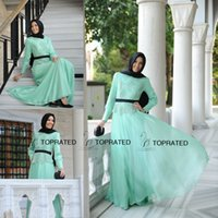 arabic neck scarf - 2015 New Muslim Evening Dresses Formal Long Sleeve Party Arabic Gowns A Line Black Scarf Mint Green Lace Chiffon Floor Length Cheap