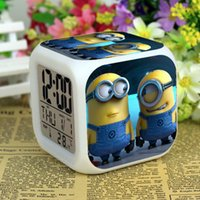 Wholesale Despicable me Digital Alarm Clock Minions Alarm Clock Thief Daddy Alarm Clock Christmas Glowing Table Clock Colors Changeable LED Clock