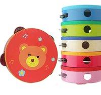 Wholesale Wooden Rattles Tamborine Drum Bell Metal Jingles Kids Kindergarten Percussion Musical Toy