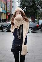 Wholesale Womens Ladies Girls Kids Faux Fur Long All In One Soft Hood Hats Scarf Gloves