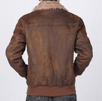 air force leather flight jacket - Fall XL Air Force Flight Jackets Leather Suede Fabric Brown Faux Sheepskin Coat Fur Collar B3 Winter Pilot Bomber Jacket
