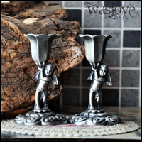 Wholesale Romantic Wedding Props Angel Candle Holders pair Retro Single Head Candlesticks Home Decorations