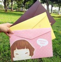 Wholesale A4 File Folder documents file bag paper Office File Holder Storage Filing Bag School office Supplies Smiling girl stationery YB