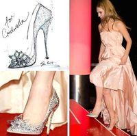 2015 de lujo Cenicienta Tacones Zapatos de Cristal Verano novia de la boda de tacón fino Rhinestone mariposa Plus Tamaño BlingBling Zapatos BO7932