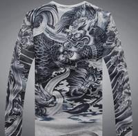 al por mayor japón camisa que adelgaza-Camiseta ocasional cabida delgada de la manga del algodón de las camisetas del diseño del arte del tatuaje de Japón Ukiyoe Top 100% de la impresión del modelo del dragón del algodón