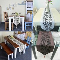 Wholesale Free by DHL EMS pieces cm Table Runner Raised Flower Blossom Flocked Damask Tassel Bed New