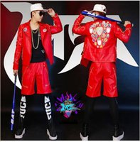 Wholesale Male singer clubs in Europe and the runway looks elastic red all hand buiter gold chain locomotive leather costumes S xl