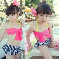 Wholesale children two pieces set Kids Swimwear set Toddler Kids Girls Bikini Bowknot Halter Swimsuit Swimming Beachwear