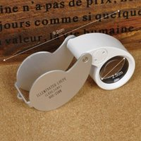 Wholesale Silver Folding X mm Glasses Magnifier Jewelry Watch Lupa Led Light Lamp Magnifying Glass Lupas De Dumento Loupe Microscope