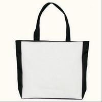 Wholesale Plain Zepper Canvas Handbag Dropship Black White No Printing Reusable Eco Foldable Shopping Bag with Holder Handle Mummy Shopping Bags