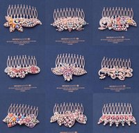 Wholesale 2015 Hot Sell Vintage Shining Cmulticolor rystal Girl Hair Combs Hairpins Women comb fine jewelry Hair Accessory Wedding dress