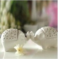 Wholesale 60pc Home decoration European classical White Elephant Ceramic candle holders for party favor Wedding gift Z302