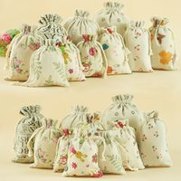 linen bags - 7 cm Linen Drawstring bags Printing Gift jute bags burlap Pouch package bags Gift hessian bags mobile power sack Burlap bags