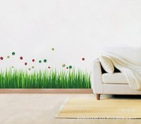 Wholesale 10 home decor Three generations of wall stickers factory nursery bedroom stickers removable PVC skirting green grass AY768