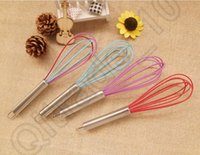 bar coats - 500PCS HHA588 Hot Sell quot SILICONE COATED EGG WHISK EGGBEATER STAINLESS STEEL HANDLE KITCHEN GADGET Manual stir bar