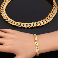 Wholesale Classical Cool K Stamp Jewelry for Men or Women K Two Tone Gold Plated Curb Chain Bracelet