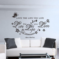 Wholesale Bob Marley Quote Love The Life You Live Vine Art Wall Sticker Decals Decor