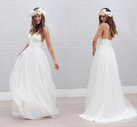 Wholesale 2015 Wedding Dresses Cheap V Neck Spaghetti Strap Pleats White Dress Wedding Gowns Zipper Back A Line Tulle Simple Beach Wedding Dresses