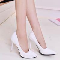 al por mayor sexy high heels-Mujeres de las ventas calientes de los altos talones de la manera atractiva los zapatos de boda en punta del dedo del pie de los altos talones bombas de las mujeres de la buena calidad tamaño 36-39 TZ0181