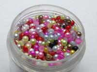 achat en gros de demi-perle bijou-2000 Mélange de pierres semi-précieuses perles Flatback 3mm Nail Art Tips + Boîte de rangement