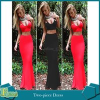 maxi skirt and dress - Summer Sexy Beach Prom Party Two Piece Dress V Neck Backless Crop Top and Maxi Skirt Bodycon Floor Length Mermaid Long Skirt
