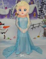 Cheap Frozen Princess Elsa Mascot Costume EVA Adult Size Frozen Alsa Cartoon Character Costumes Party Costume Fancy Dress Free Shipping