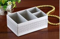 Wholesale 4 Slot Wooden and Leather Table Storage Box Mobile Phone Makeup Cosmetics Box Case Holder Organizer white Woven Pattern