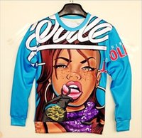 Cheap Crazy! New women men space Sexy mouth lips naked bomb print pullovers 3D Sweatshirts Hoodieshigh quality two side female tops