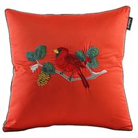 Wholesale 45cm Asian Style Red Color Imitated silk Embroidery bird flower Home Decoration Throw Pillow Case Pillows Cushion Covers quot order lt no tra