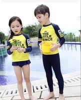 Wholesale Swimwear Girl Sunscreen - 2016 Baby Beachwear Fashion Swimwear Longsleeve Sunscreen one-piece Child Swimsuit Girl Rash Guard Kid Swimwear BH1789