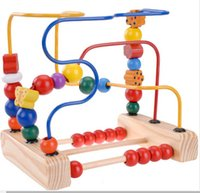 3-4 Years wooden coaster - 2014 fruit birds and flowers move round pearl line three beads wooden activity cube roller coaster bead maze classic baby toy