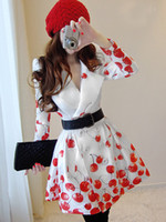 Wholesale Womens Double Breasted Red Cherry Printed Windbreaker Trench Coat puff skirt trench double breasted Size S XL