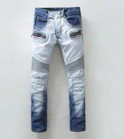 Wholesale BALMAIN jeans BP Jeans Men Cool Denim White And Blue Gradual Change Biker Slim Fashion Jeans Skinny Light Blue Men Jeans Size