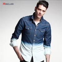 gradient denim shirt - Gradient Denim Shirts Men Long Sleeve Casual Slim Fit Jeans Denim Shirts For Men Spring Autumn New Fashion Blouse camisa masculina