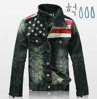 antique leather jackets - Fall new american flag suit jacket PU leather patchwork distressed antique mens denim jean jacket AY108