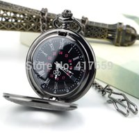 Wholesale N690 High Quality New Steampunk Face Retro Pendant Pocket Watch For a Gift Skeleton Mechanical Black Open