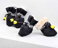 Wholesale thickening winter inside fur set Pet Dog Shoes footwe rain Boot pet products waterproof rain shoes
